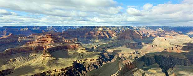 A beautiful view of the south Grand Canyon with perfect lighting and cloud shadows.